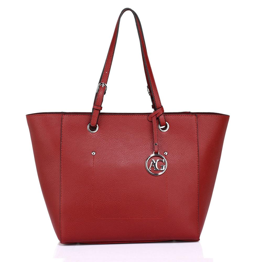 Tmavěčervená velká kabelka do ruky i na rameno AG00532