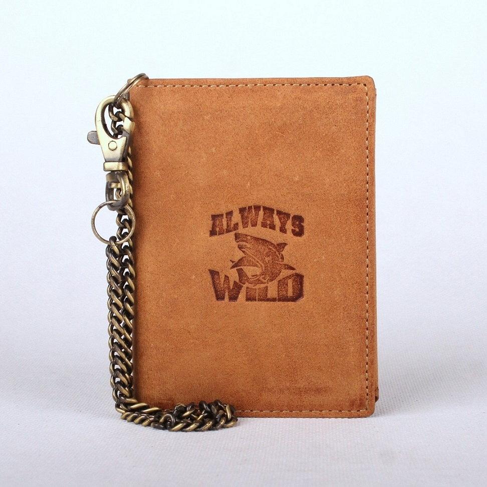 Světlehnědá kožená peněženka Always Wild se žralokem a řetězem