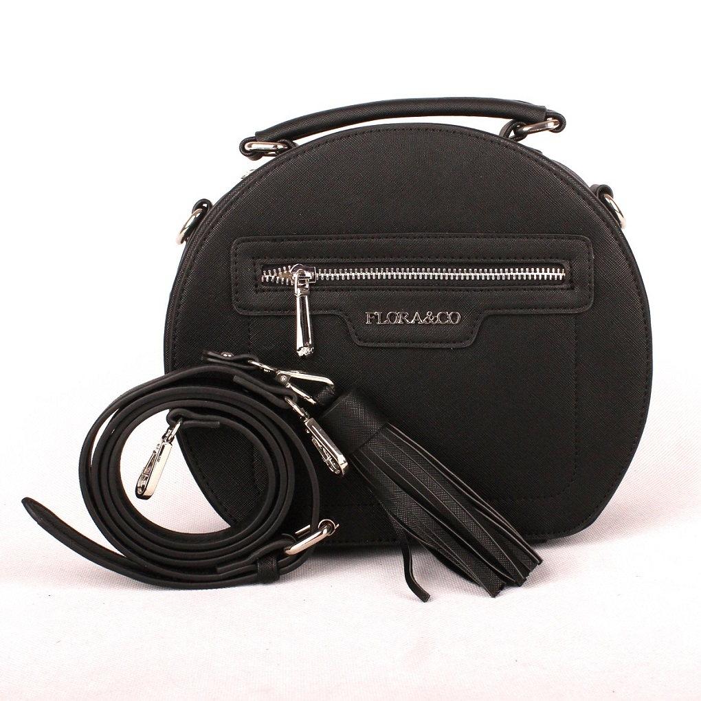 Černá oblá kabelka do ruky FLORA&CO F6335 | Oázakabelek.cz