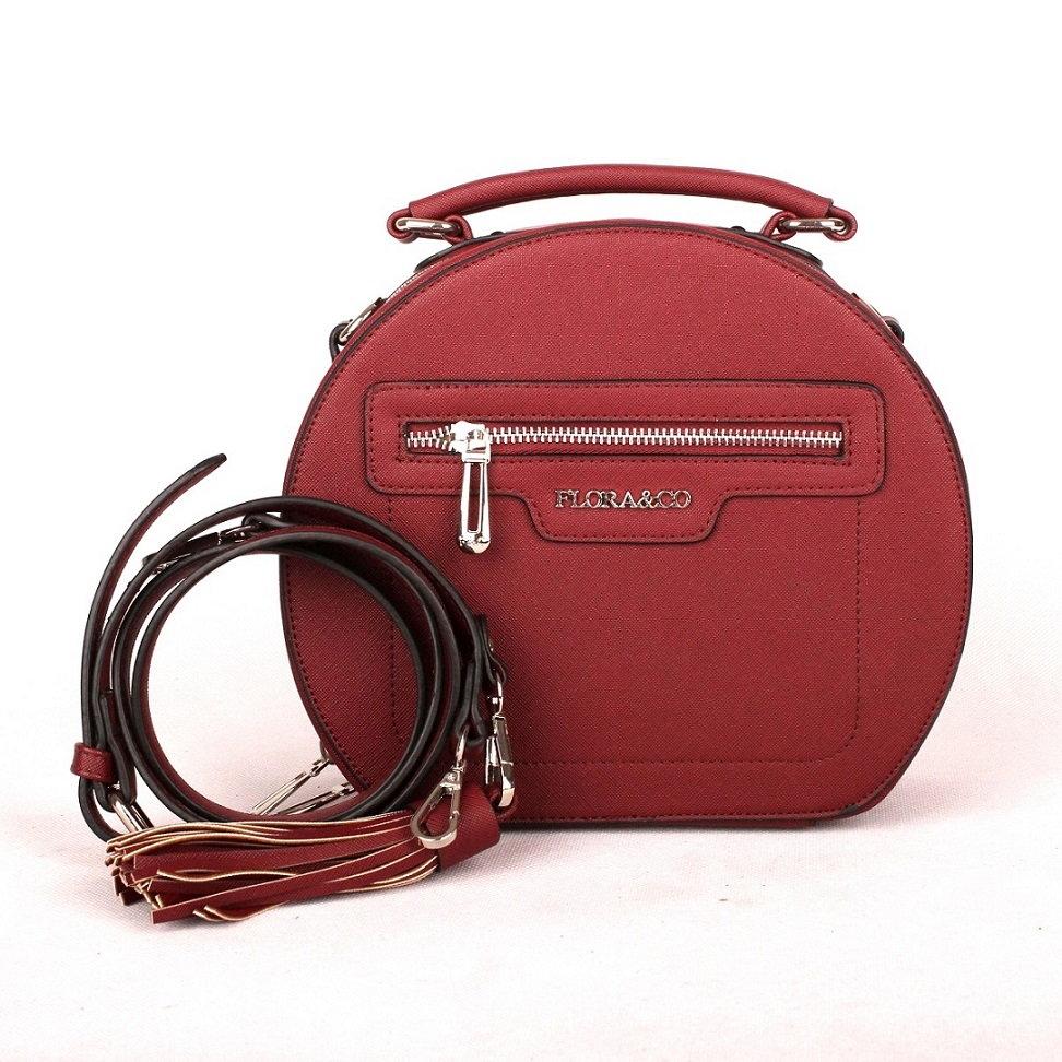 Tmavěčervená oblá kabelka do ruky FLORA&CO F6335 | Oázakabelek.cz