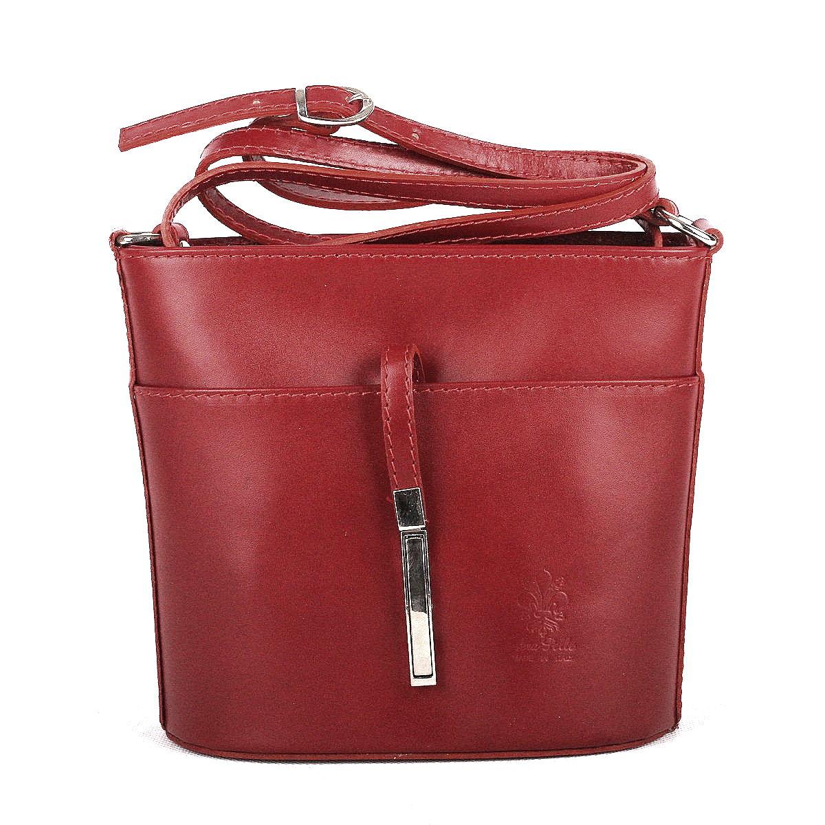 Malá kožená tmavěčervená crossbody kabelka no. 16