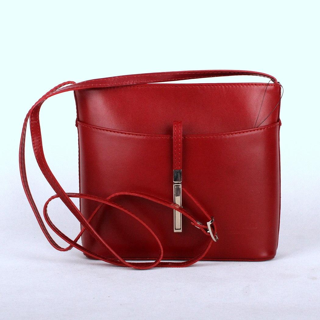 Malá kožená tmavěčervená crossbody kabelka no. 44