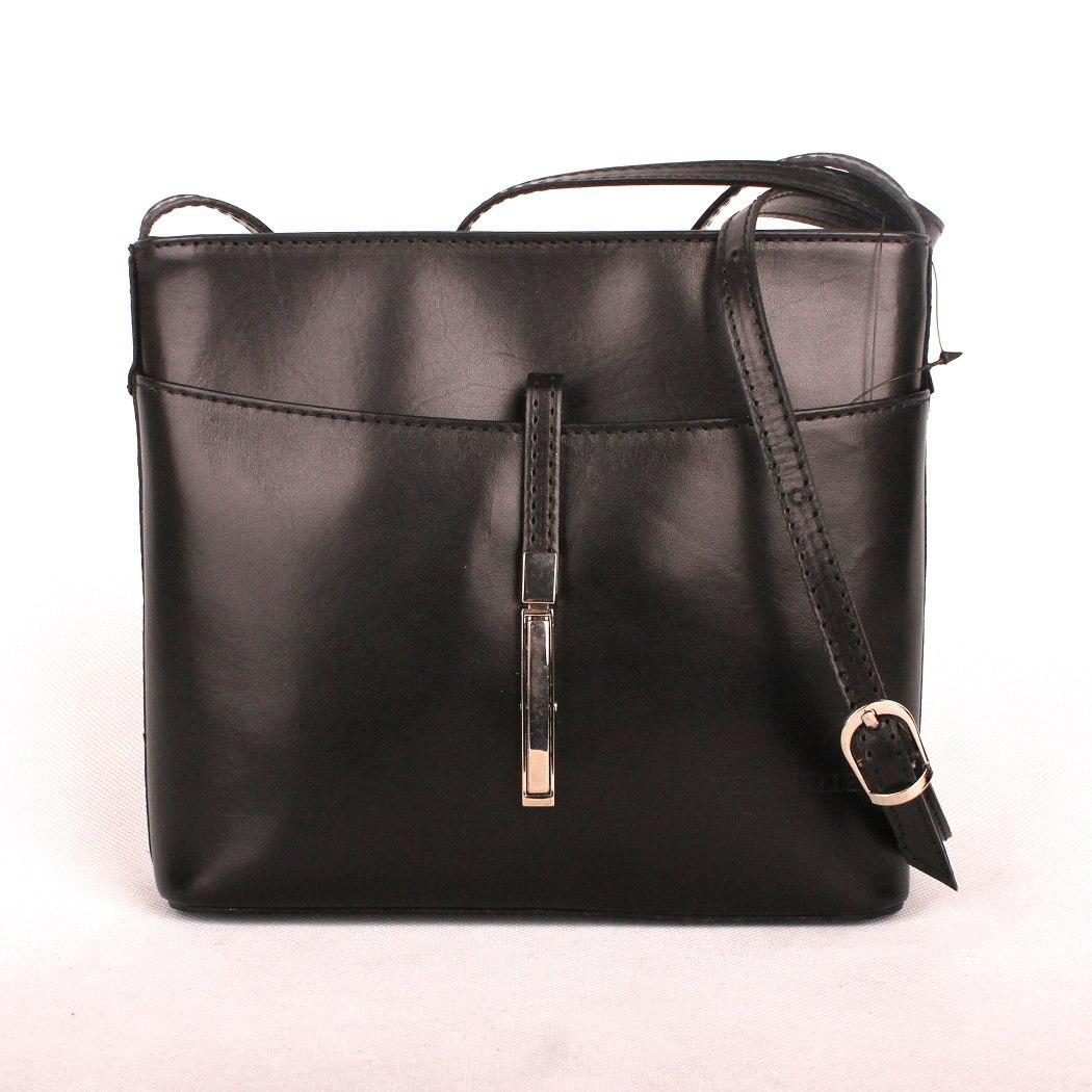 Malá kožená černá crossbody kabelka no. 44