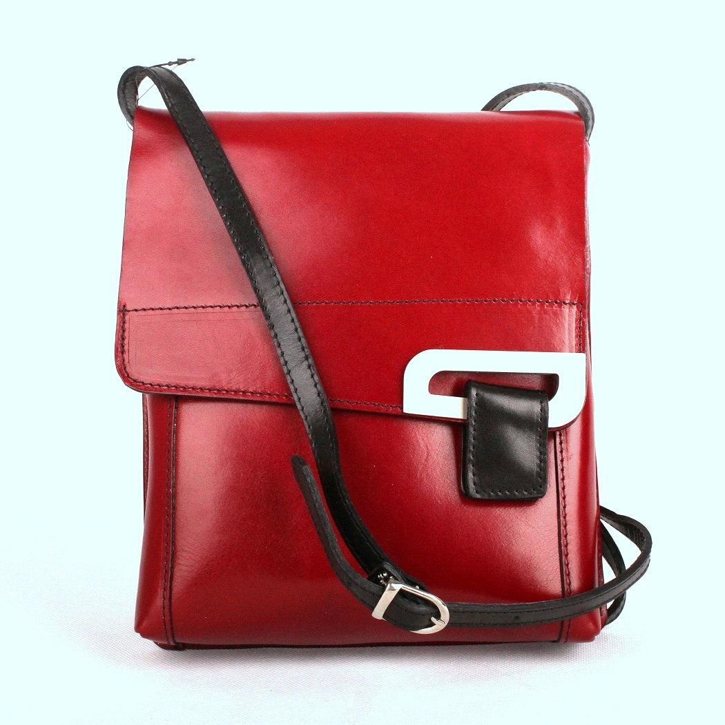 Tmavěčerveno-černá středně velká kožená crossbody kabelka no. 28