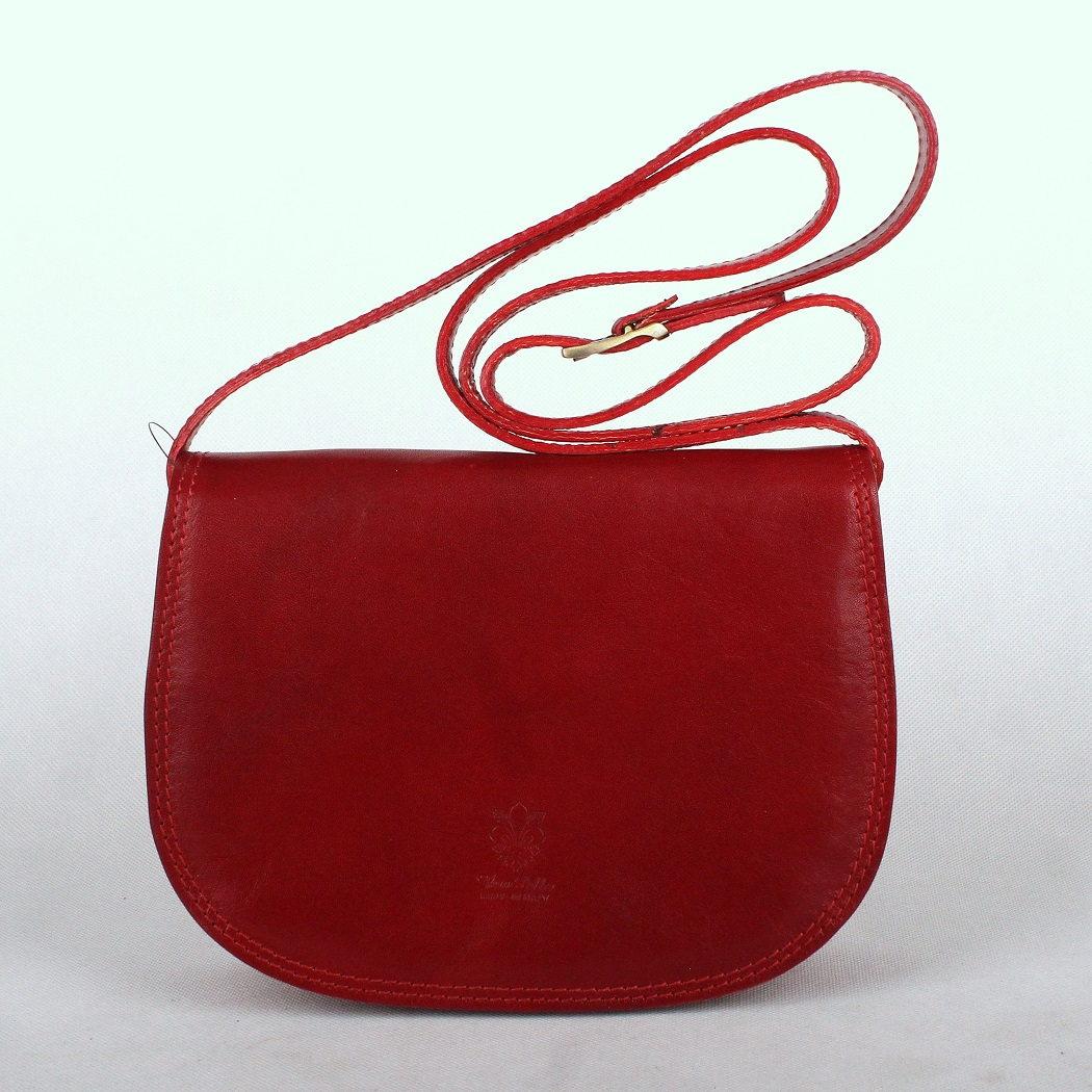 Tmavěčervená středně velká kožená crossbody kabelka no. 49