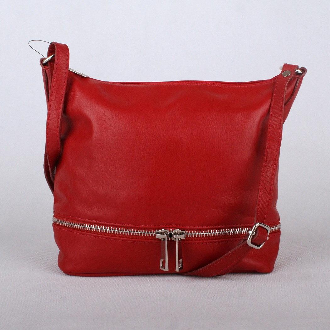 Červená malá/střední kožená crossbody kabelka no. 192