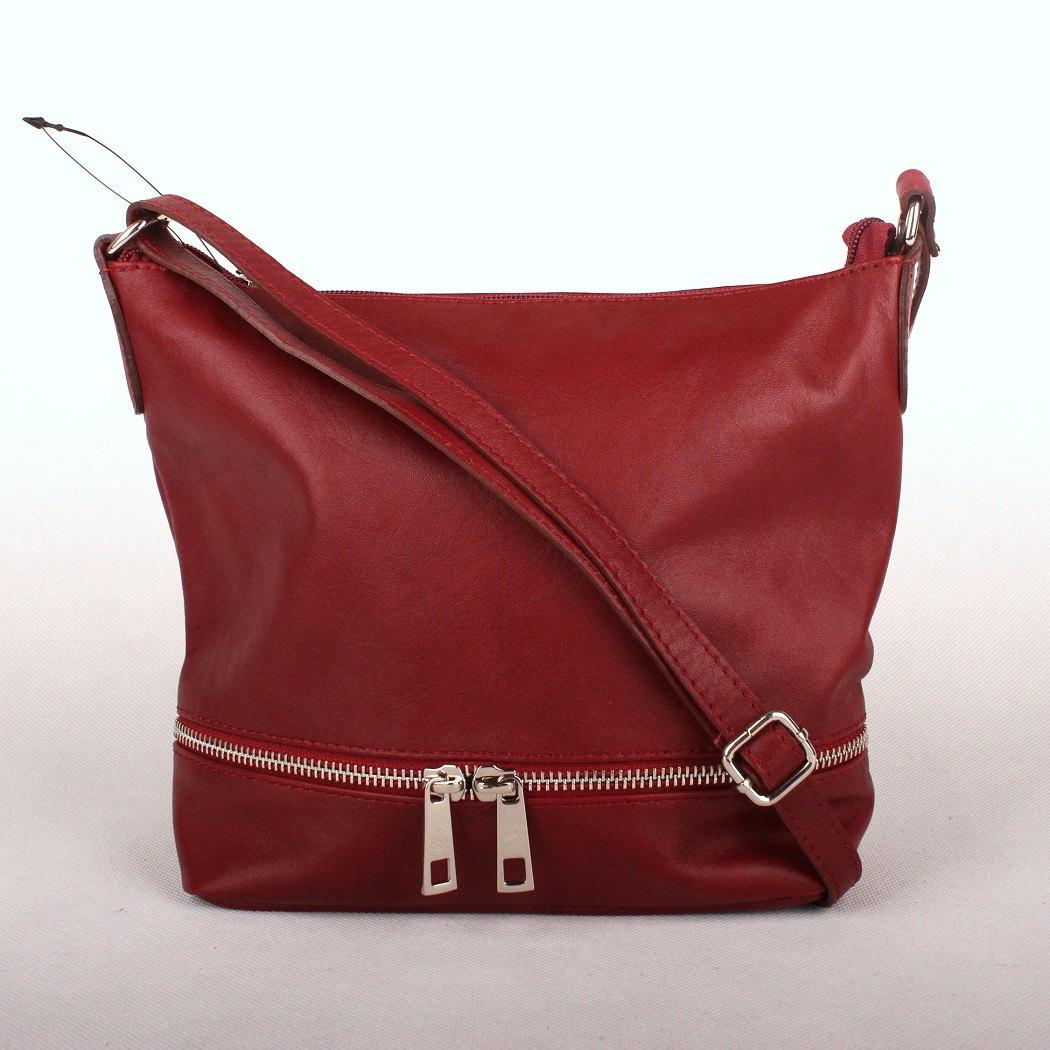 Tmavěčervená malá/střední kožená crossbody kabelka no. 192