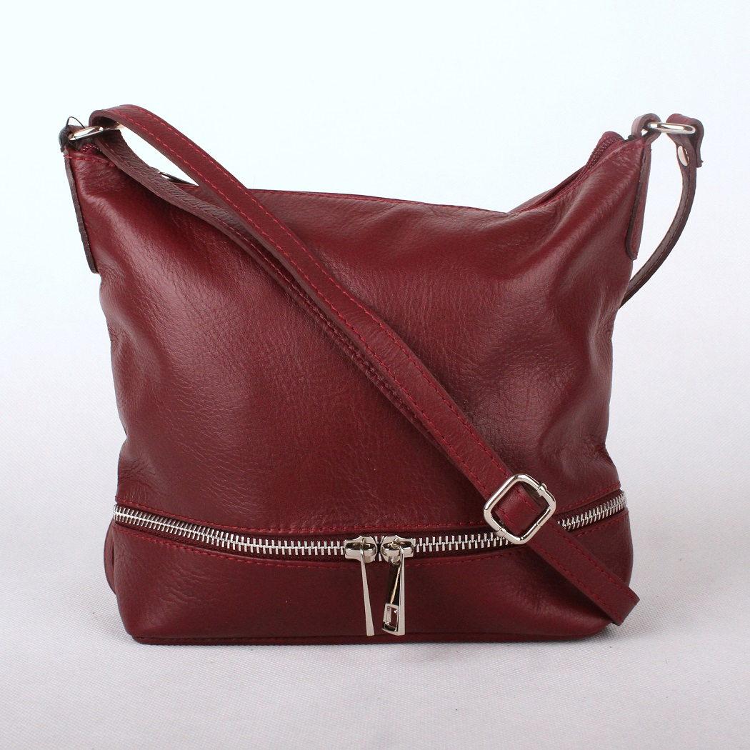 Tmavěčervená (burgundy) malá/střední kožená crossbody kabelka no. 192
