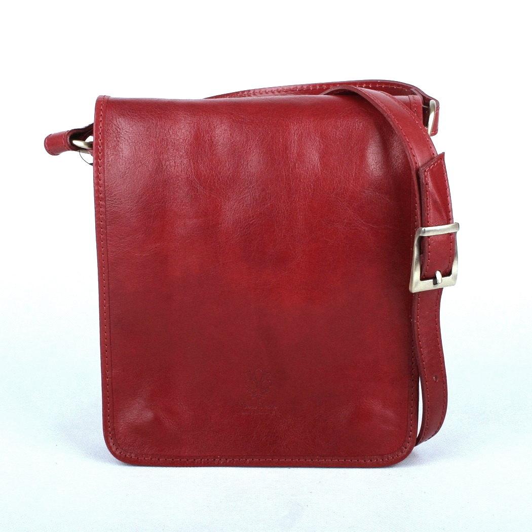 Tmavěčervená středně velká kožená crossbody kabelka no. 48