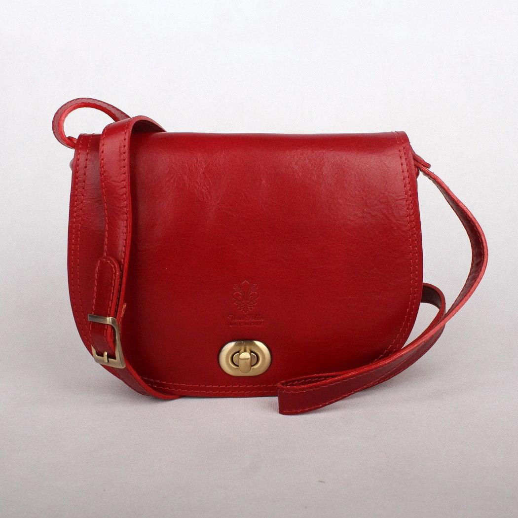 Tmavěčervená středně velká kožená crossbody kabelka no. 50