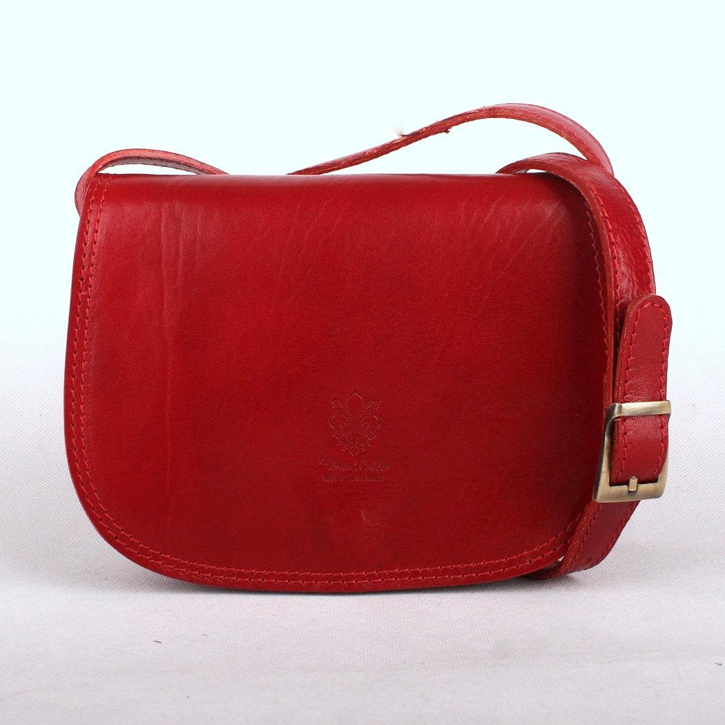 Tmavěčervená malá kožená crossbody kabelka no. 46