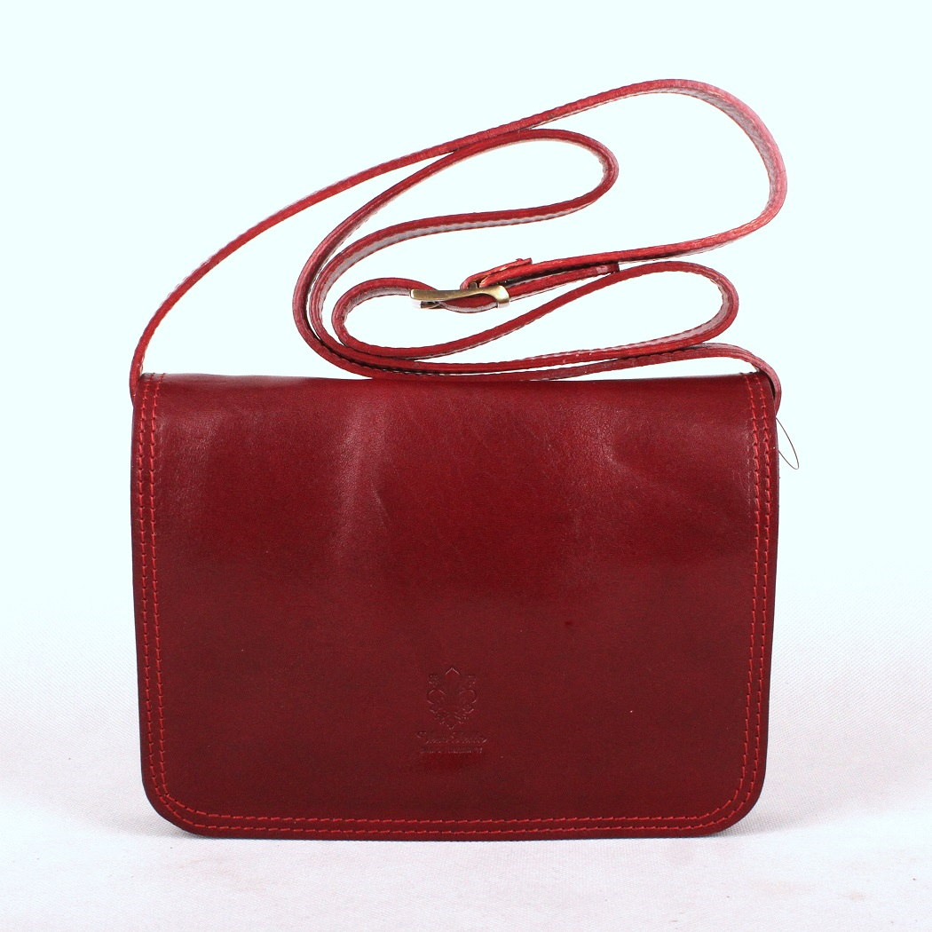 Tmavěčervená středně velká kožená crossbody kabelka no. 51