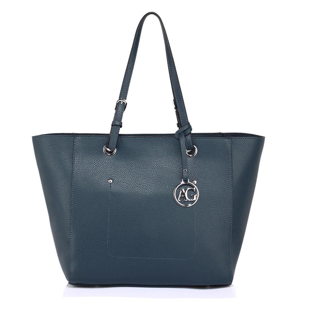 Modrá velká kabelka do ruky i na rameno AG00532