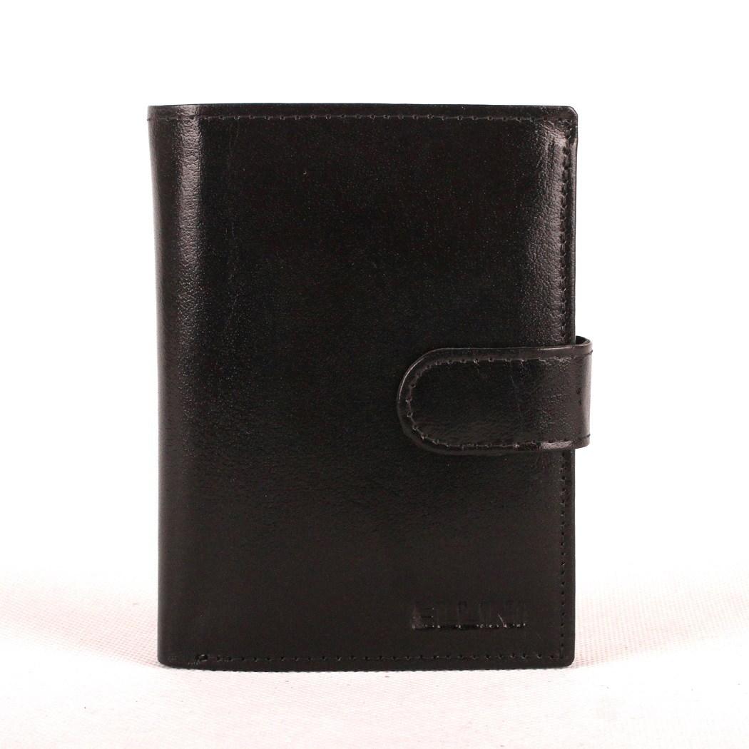 Černá hladká mírně lesklá kožená peněženka ELLINI