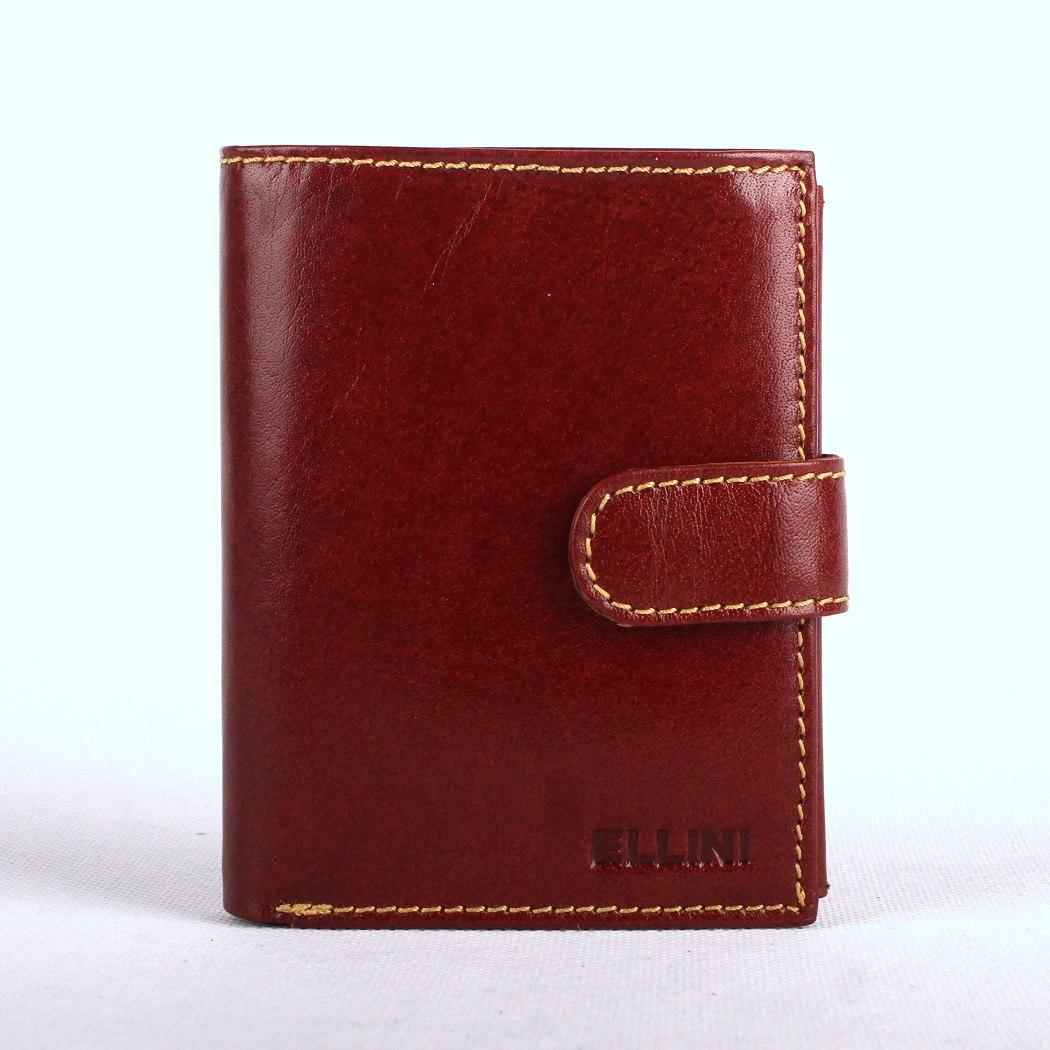 Hnědá (cognac) hladká mírně lesklá kožená peněženka ELLINI