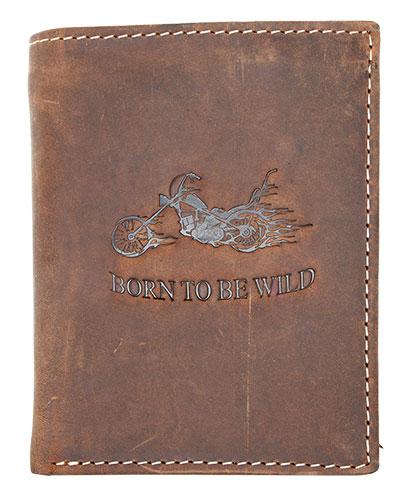 Hnědá pánská kožená peněženka Born to be Wild s motorkou na výšku