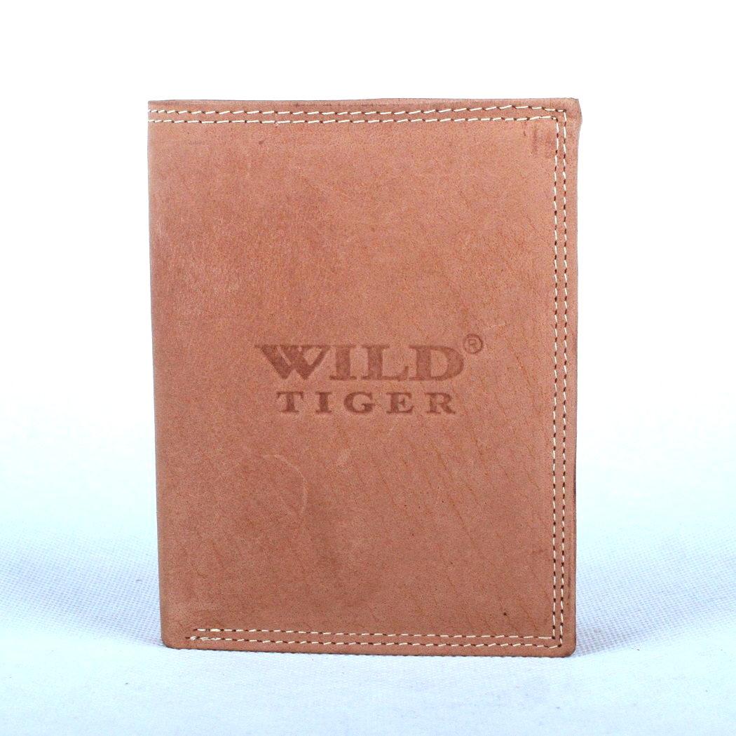 Světlehnědá pánská kožená peněženka Wild Tiger na výšku