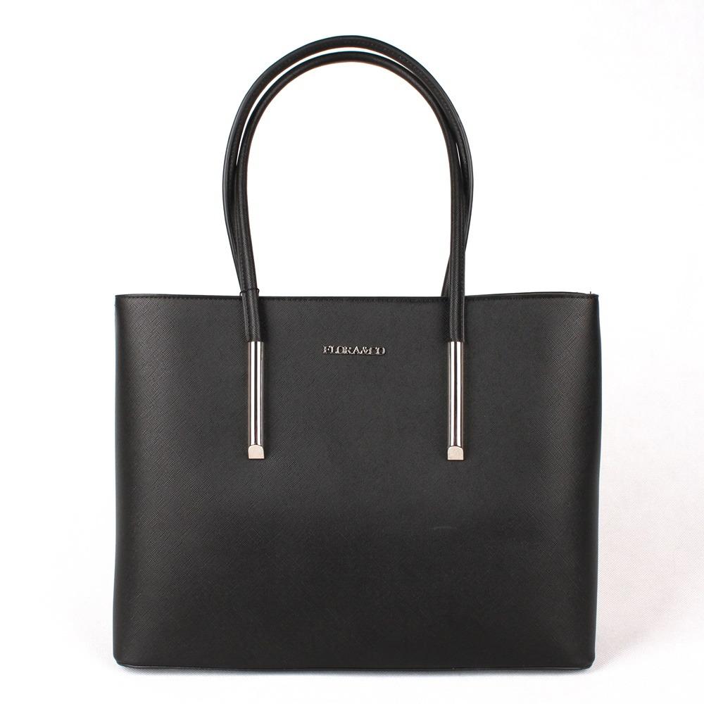 Černá velká elegantní kabelka na rameno FLORA&CO F5717 | Oázakabelek.cz