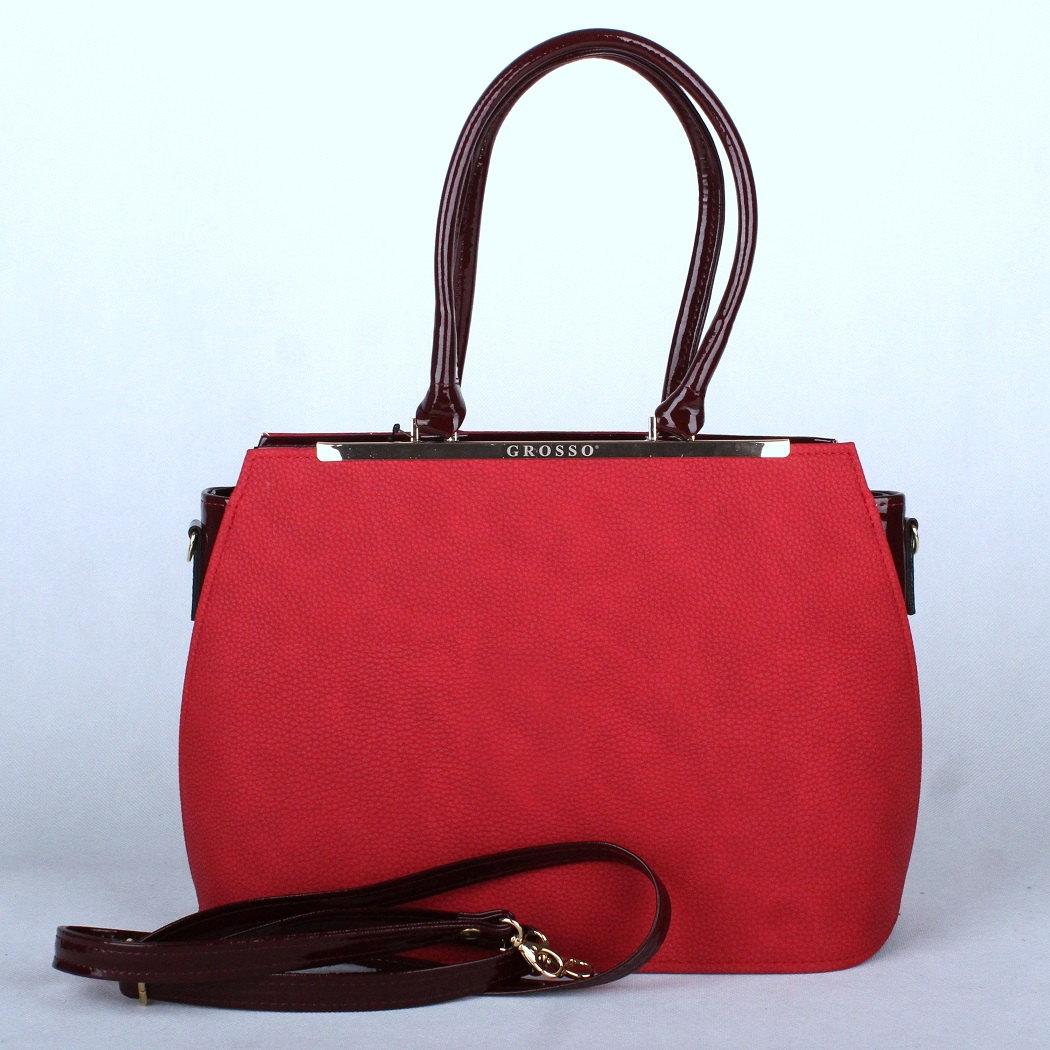 Červená pevná elegantní kabelka do ruky Grosso