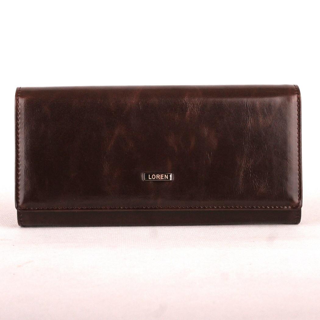 Tmavěhnědá kožená peněženka Loren