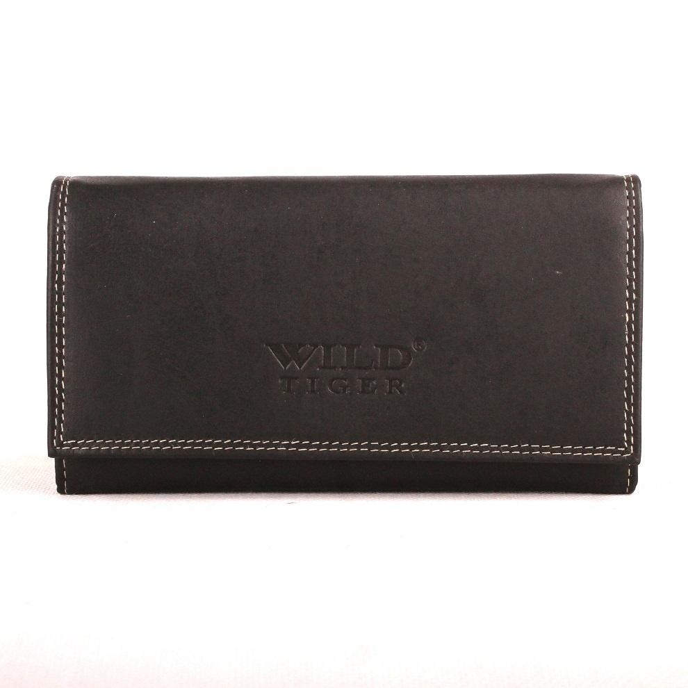 Velká černá kožená peněženka Wild Tiger až na 10 platebních karet