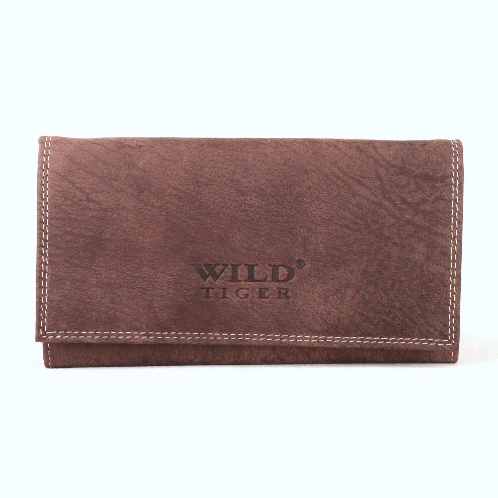 Velká tmavěhnědá kožená peněženka Wild Tiger až na 10 platebních karet