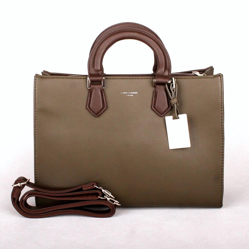 Zeleno-hnědá (khaki) středně velká kabelka do ruky David Jones CM3581