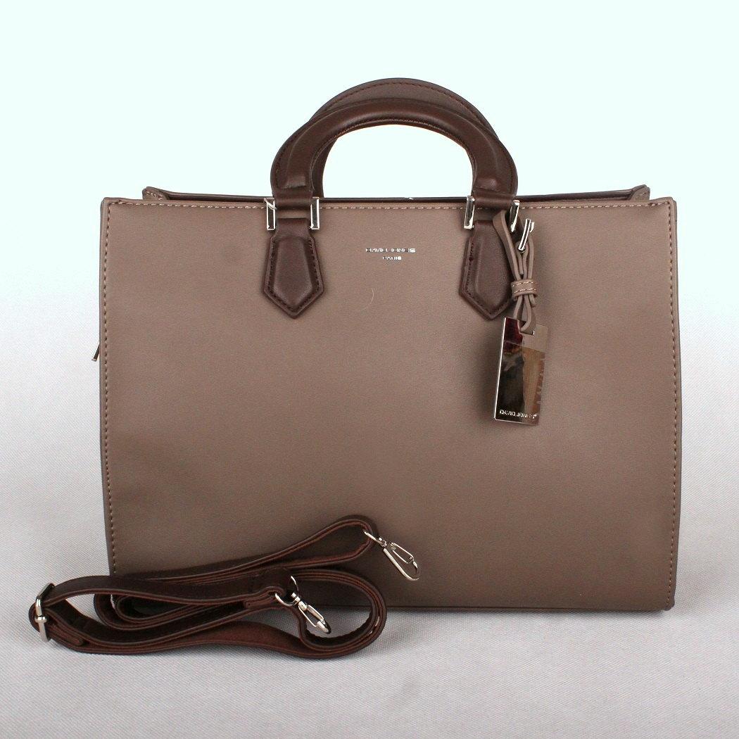 Šedo-hnědá (taupe) středně velká kabelka do ruky David Jones CM3581