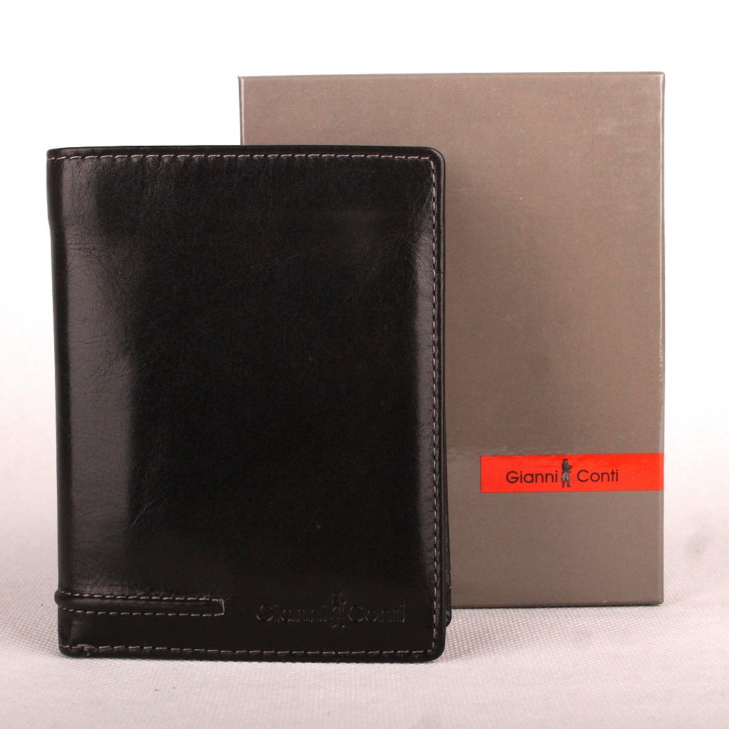 Černá pánská kožená luxusní peněženka Gianni Conti no. 707117 na výšku