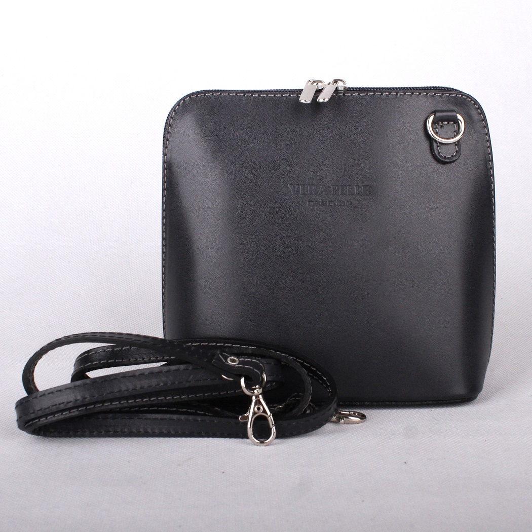 Černá malá kožená crossbody kabelka no. 55