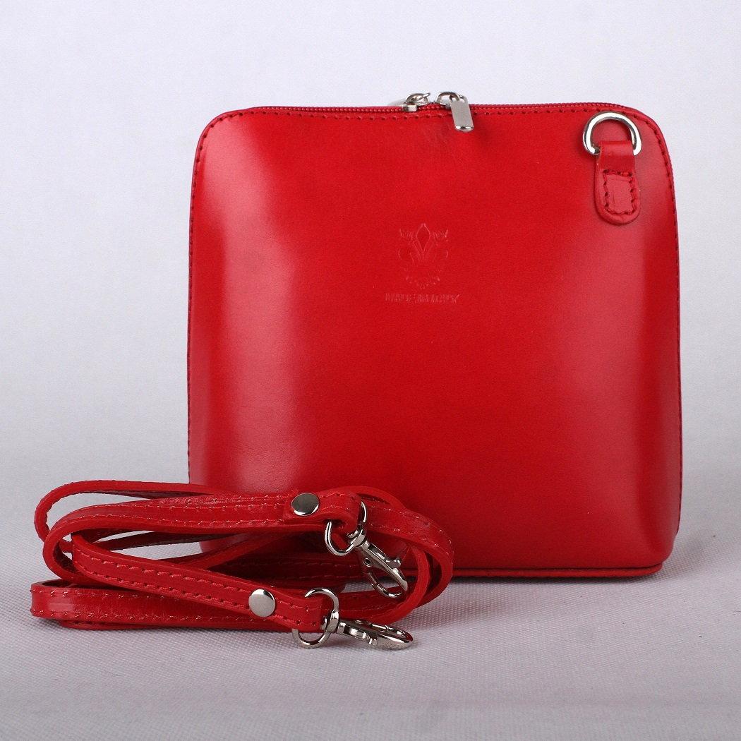 Červená malá kožená crossbody kabelka no. 55