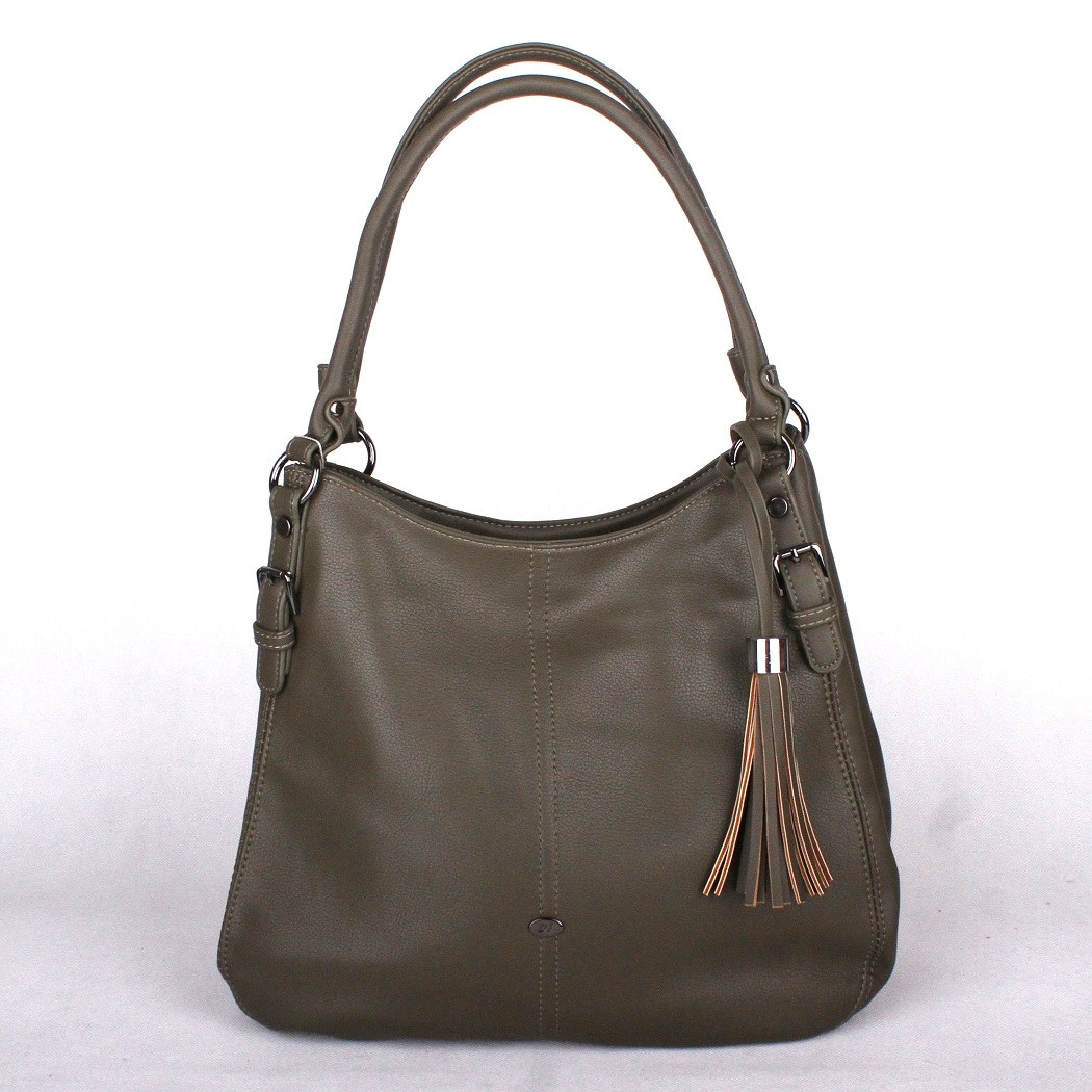 Zelenohnědá (khaki) kabelka na rameno David Jones CM3594 černá