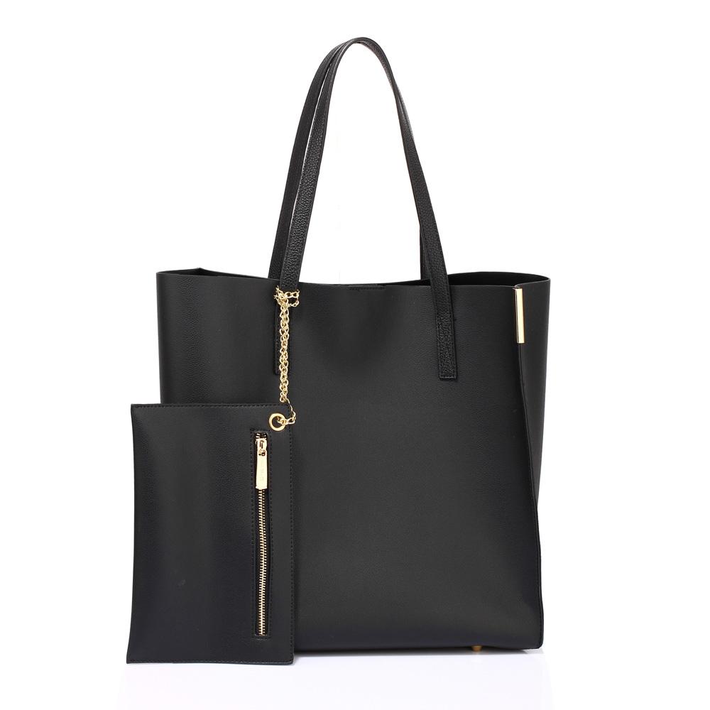 Černá velká kabelka na rameno AG00549 s taštičkou