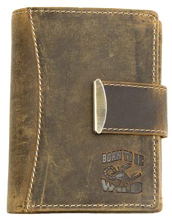 Hnědá kožená peněženka Born to be Wild se štírem na výšku
