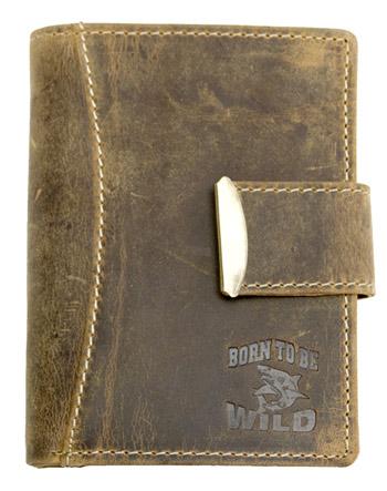 Hnědá kožená peněženka Born to be Wild se žralokem na výšku