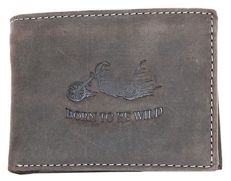 Šedohnědá pánská kožená peněženka Born to be Wild s motorkou podélná