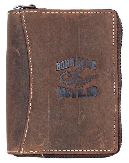 Tmavěhnědá pánská kožená peněženka Born to be Wild na výšku se štírem