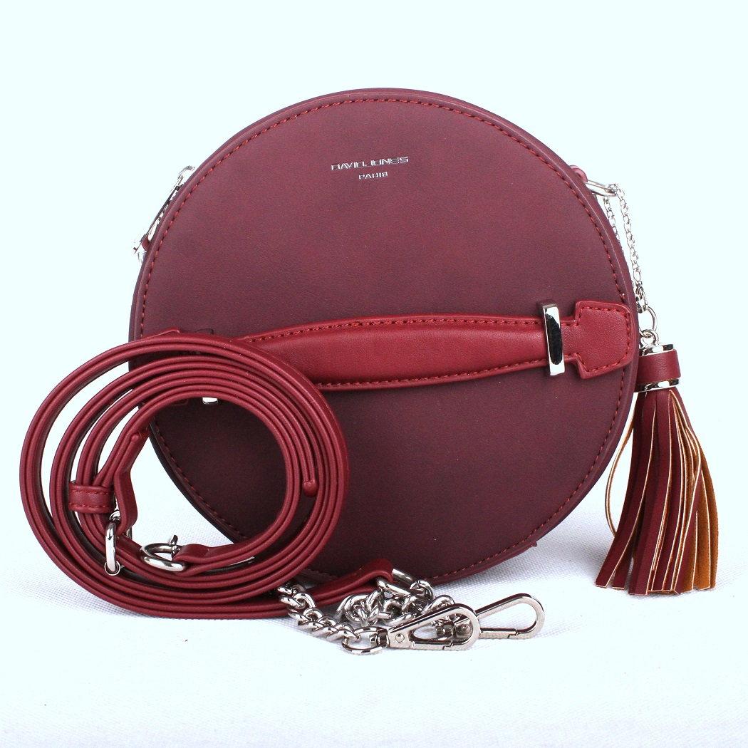 Tmavěčervená kulatá kabelka na rameno David Jones CM3590 | Oázakabelek.cz