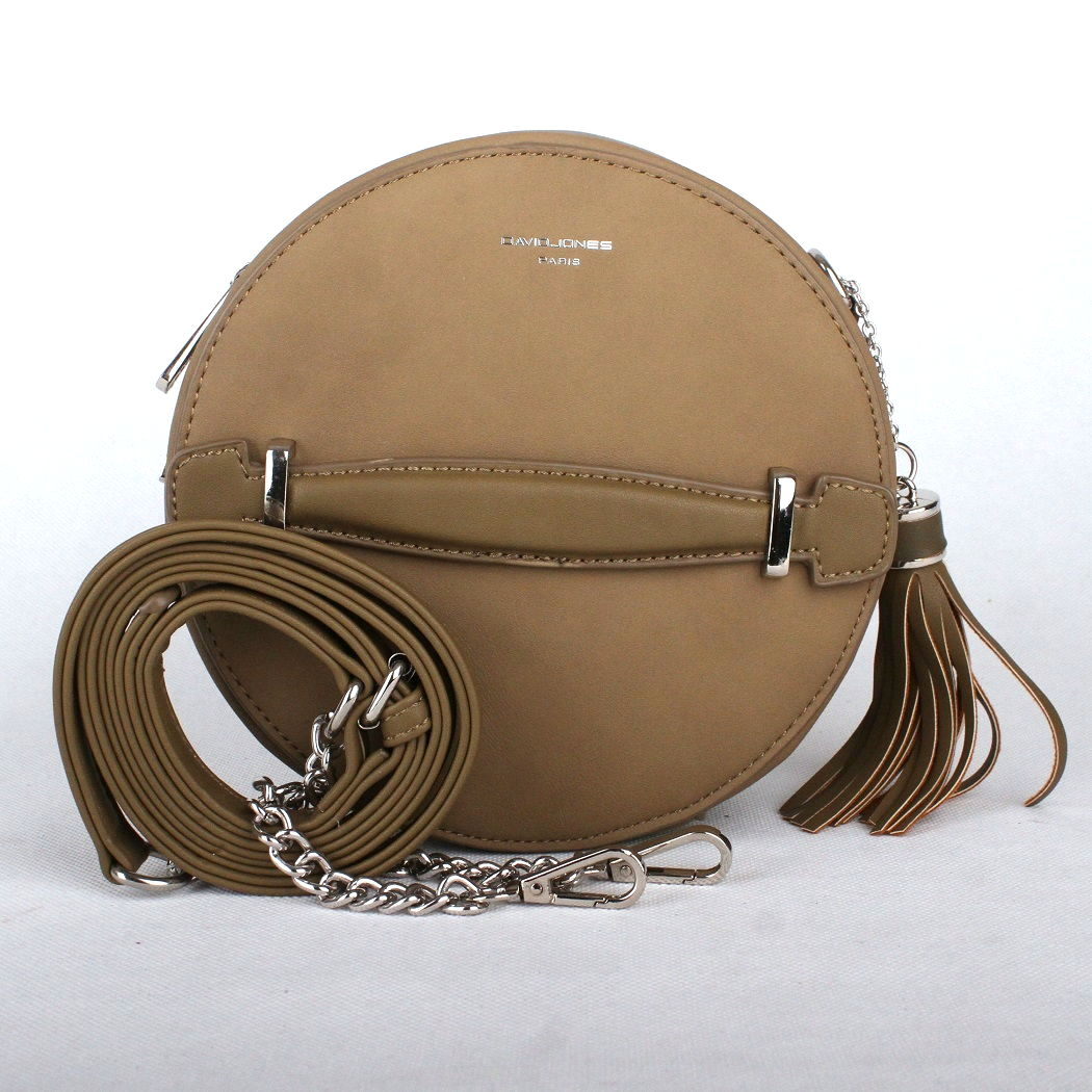 Hnědozelená (khaki) kulatá kabelka na rameno David Jones CM3590