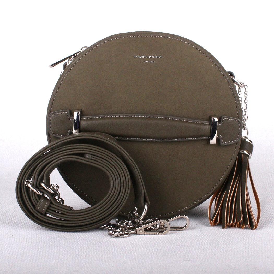 Tmavězelenohnědá (dark khaki) kulatá kabelka na rameno David Jones CM3590