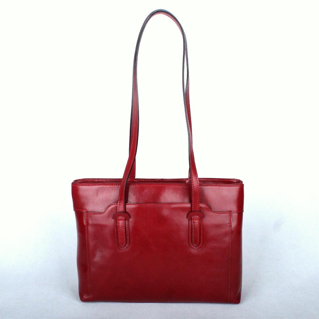 Velká tmavěčervená kožená kabelka na rameno SF 2990 na formát A4