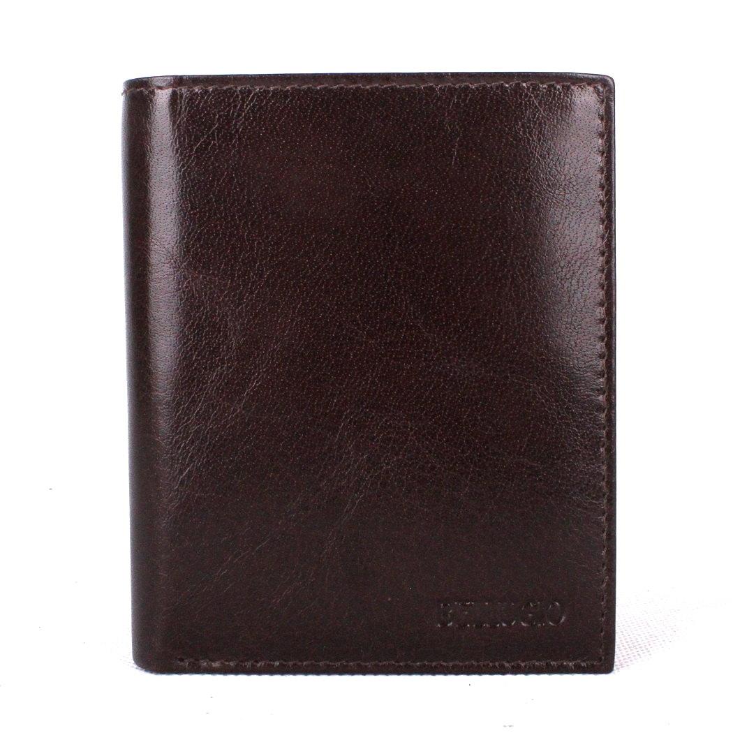 Tmavěhnědá pánská kožená peněženka BELLUGIO na výšku (AM-21-034)