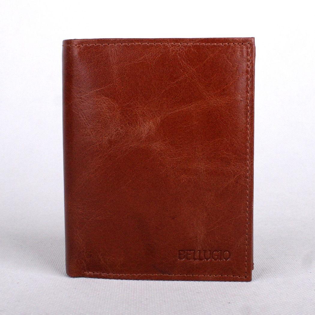 Hnědá (tan) pánská kožená peněženka BELLUGIO na výšku (AM-21-034)