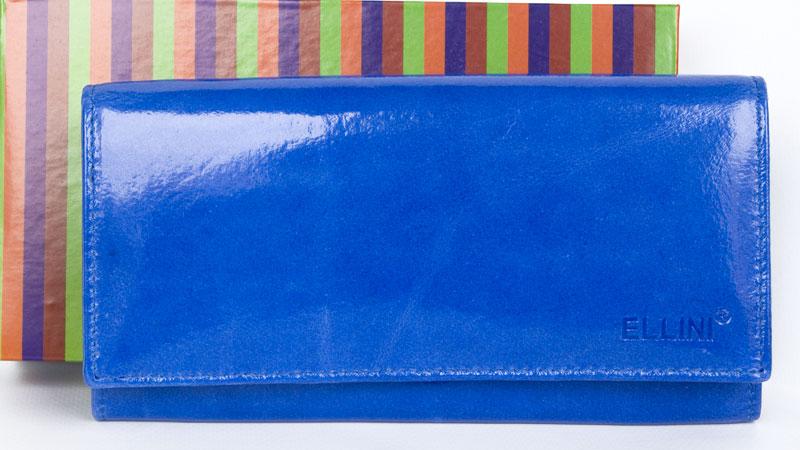 Lesklá modrá kožená peněženka ELLINI