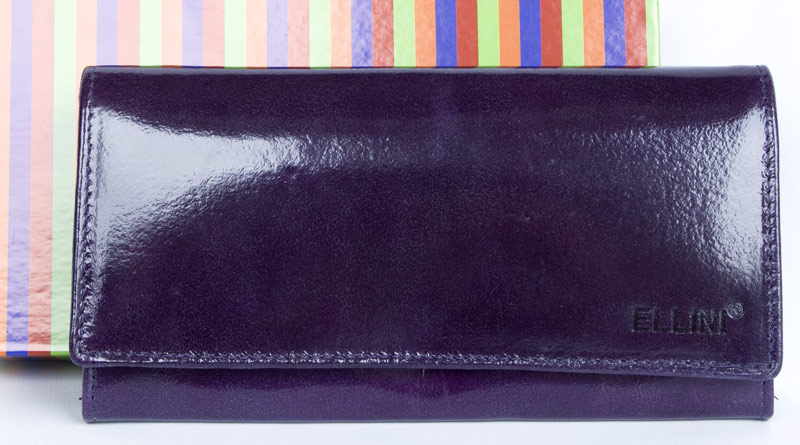 Lesklá fialová kožená peněženka ELLINI
