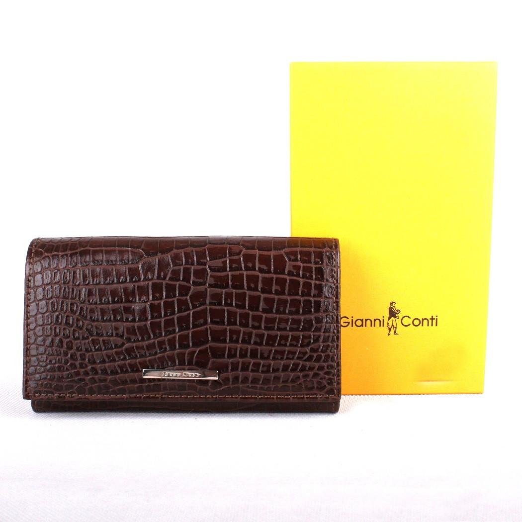 Luxusní tmavěhnědá dámská kožená peněženka Gianni Conti