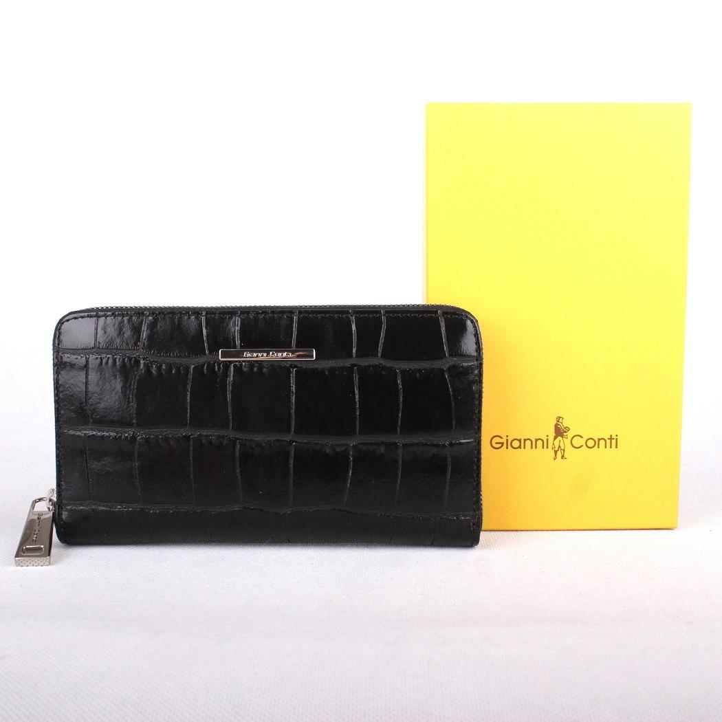 Luxusní dámská černá kožená peněženka Gianni Conti no. 1898