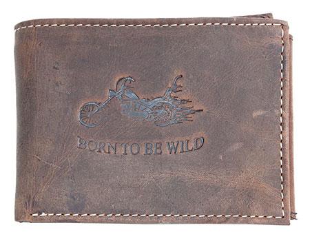 Hnědá pánská kožená peněženka Born to be Wild s motorkou podélná