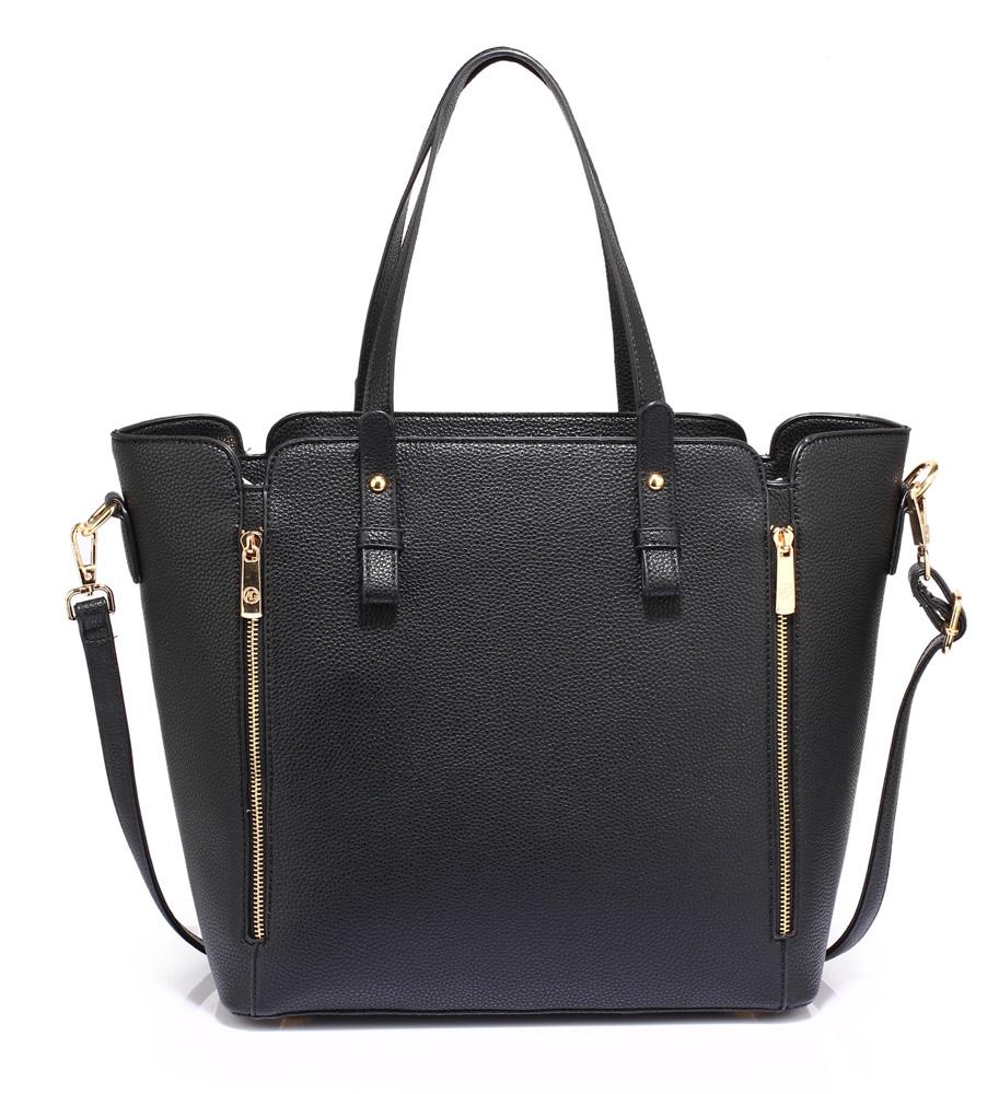 Velká černá kabelka do ruky i na rameno LS00502