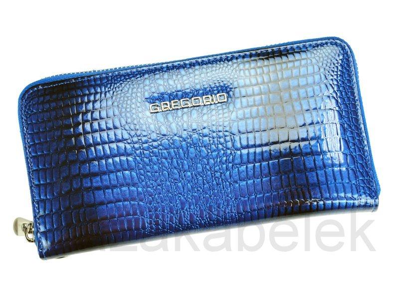 Lesklá celozipová kožená modrá peněženka Gregorio GF119